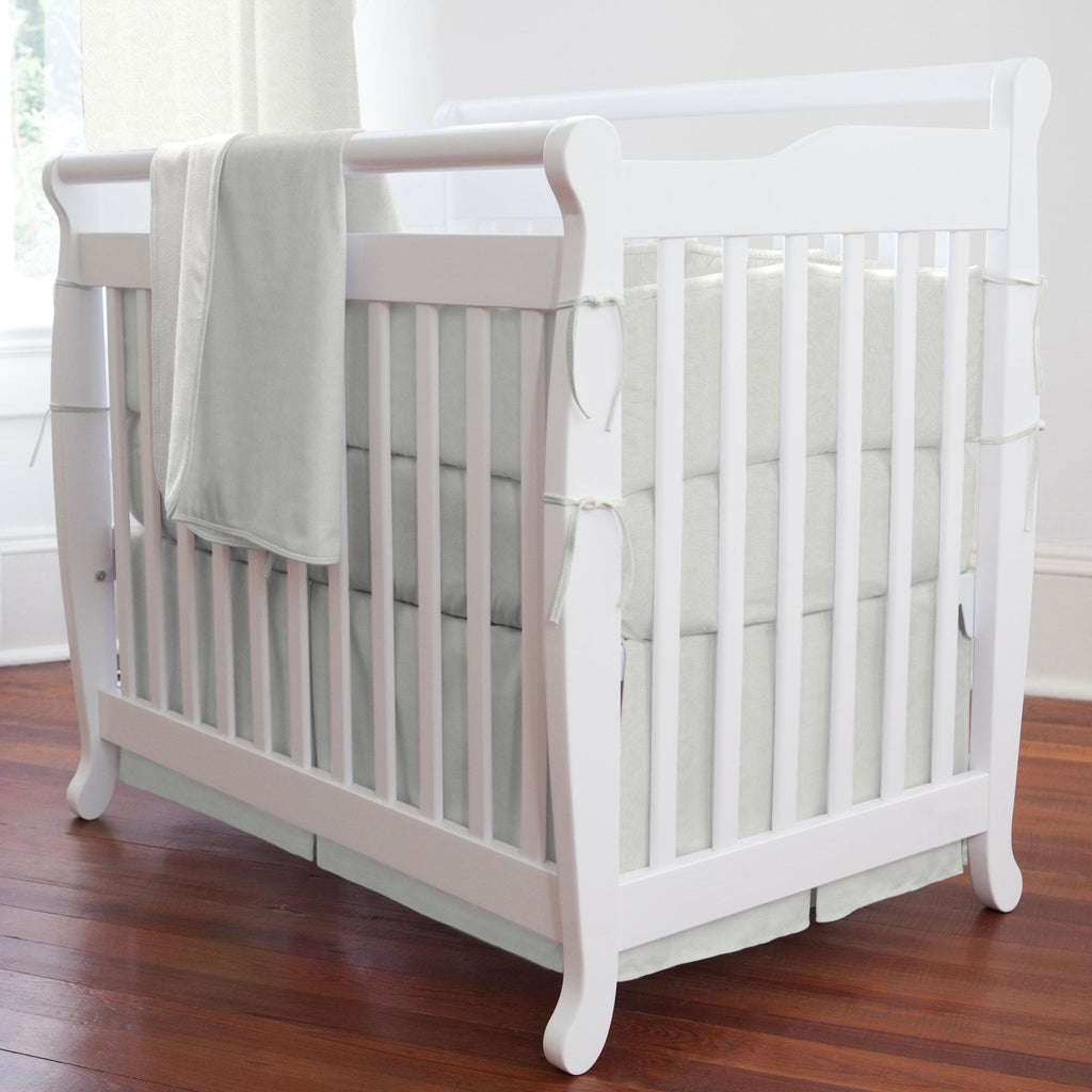 Product image for Silver Gray Linen Mini Crib Bumper