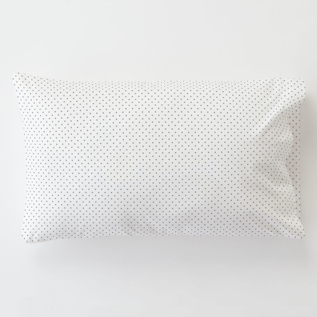 Product image for Cloud Gray Pin Dot Toddler Pillow Case with Pillow Insert