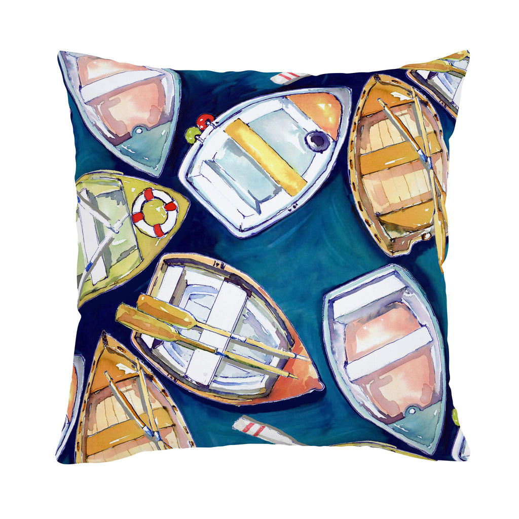 Product image for Blue Watercolor Boats Throw Pillow