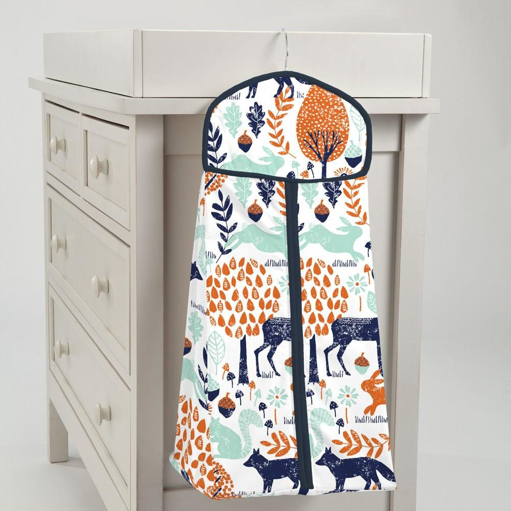 Product image for Navy and Orange Woodland Animals Diaper Stacker