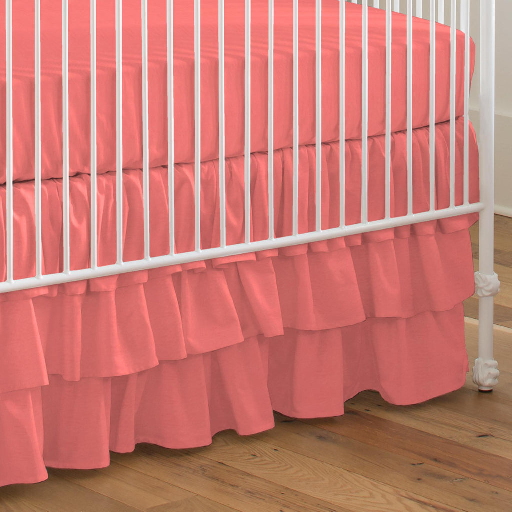 Product image for Solid Coral Crib Skirt 3-Tiered