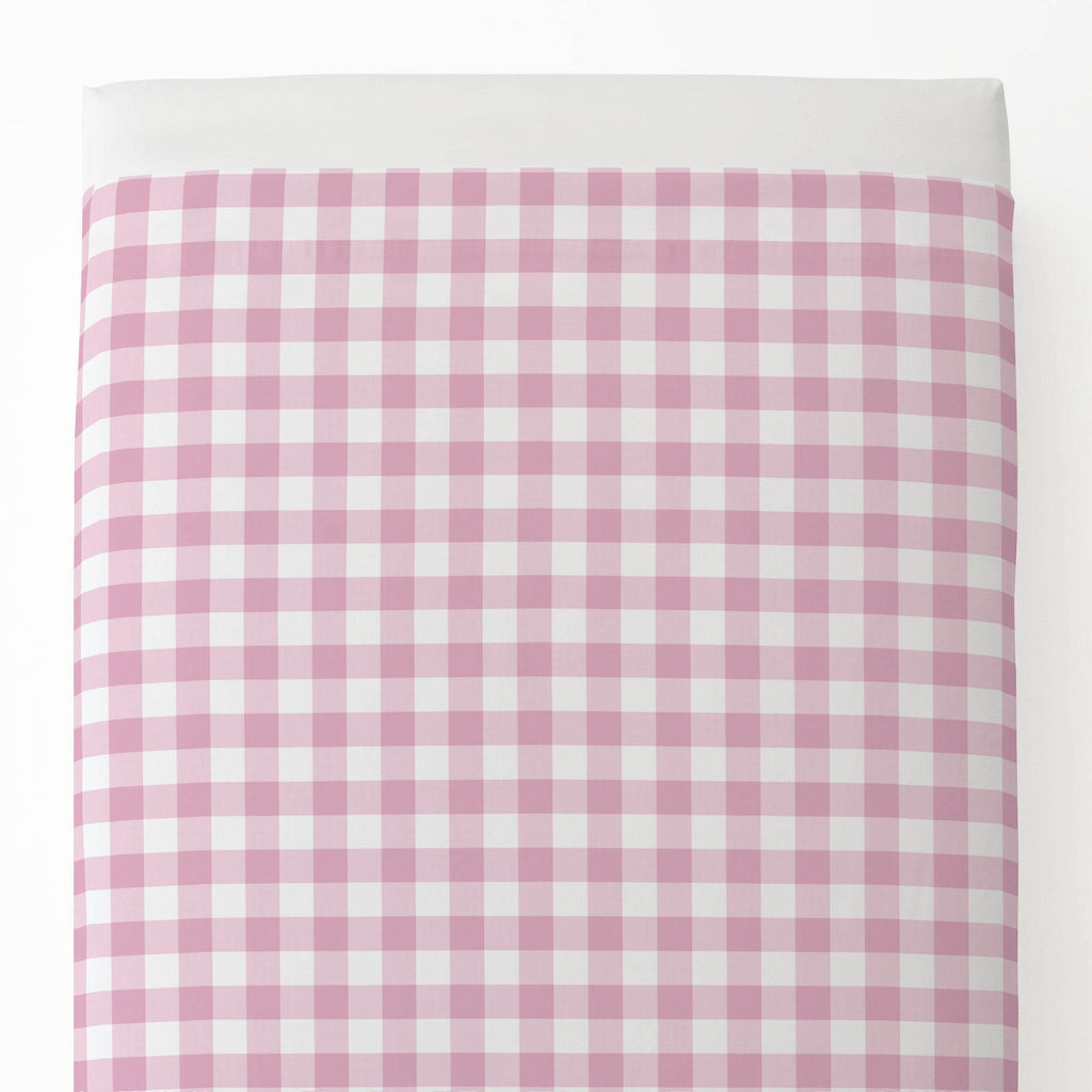 Product image for Bubblegum Gingham Toddler Sheet Top Flat