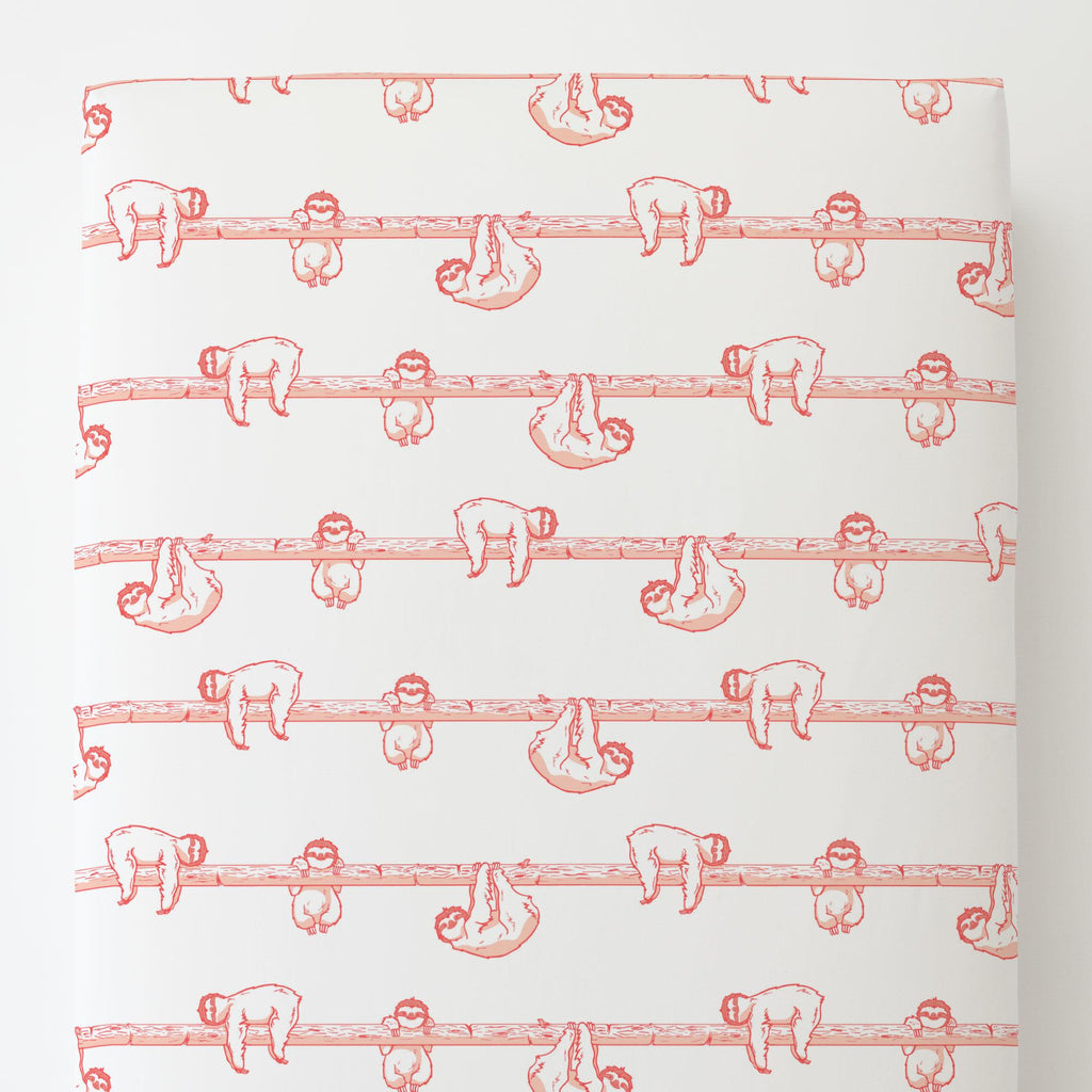 Product image for Coral Sloth Toddler Sheet Bottom Fitted
