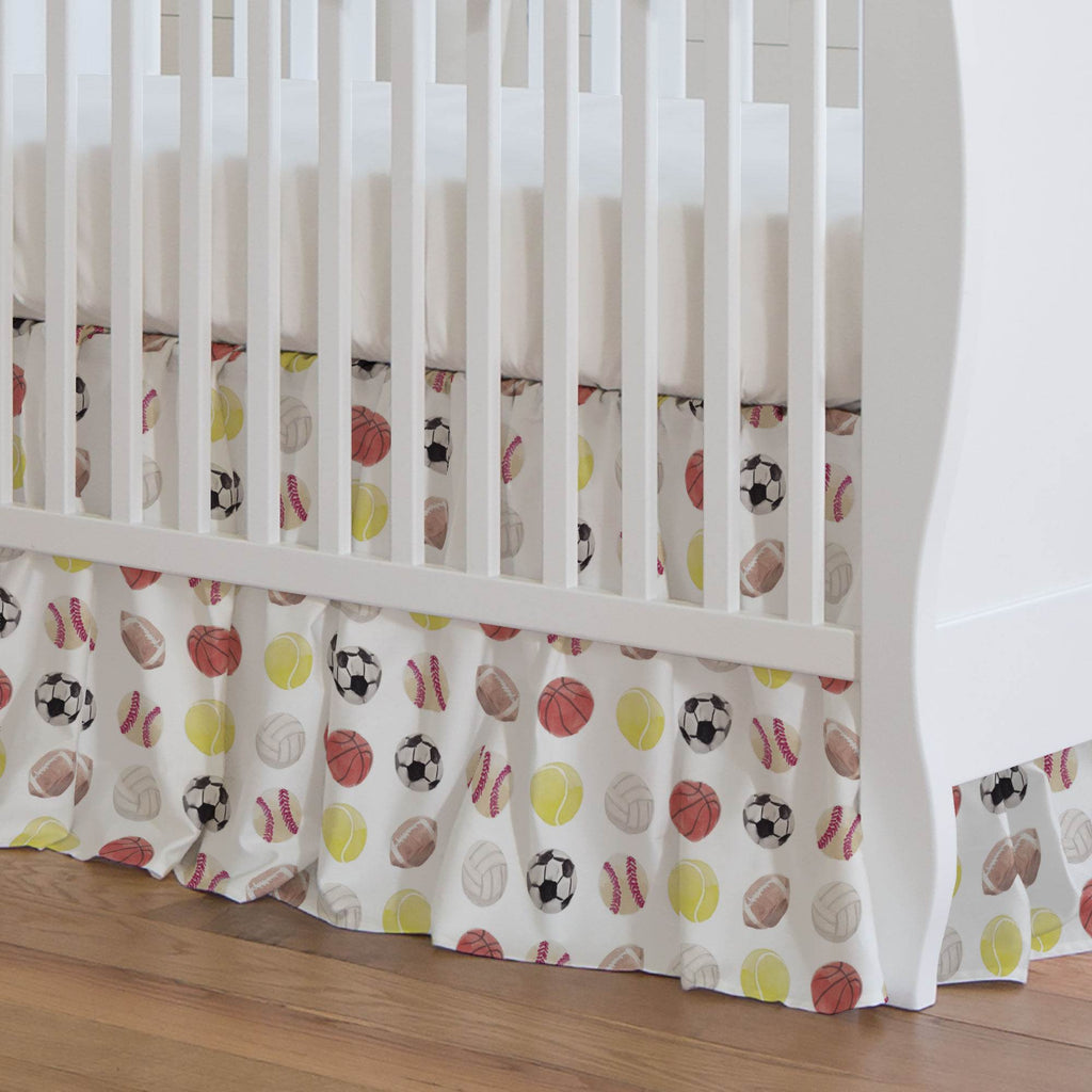 Product image for Watercolor Sports Crib Skirt Gathered