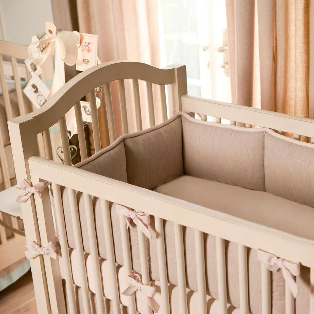 Product image for Light Pink and Flax Linen Crib Bumper