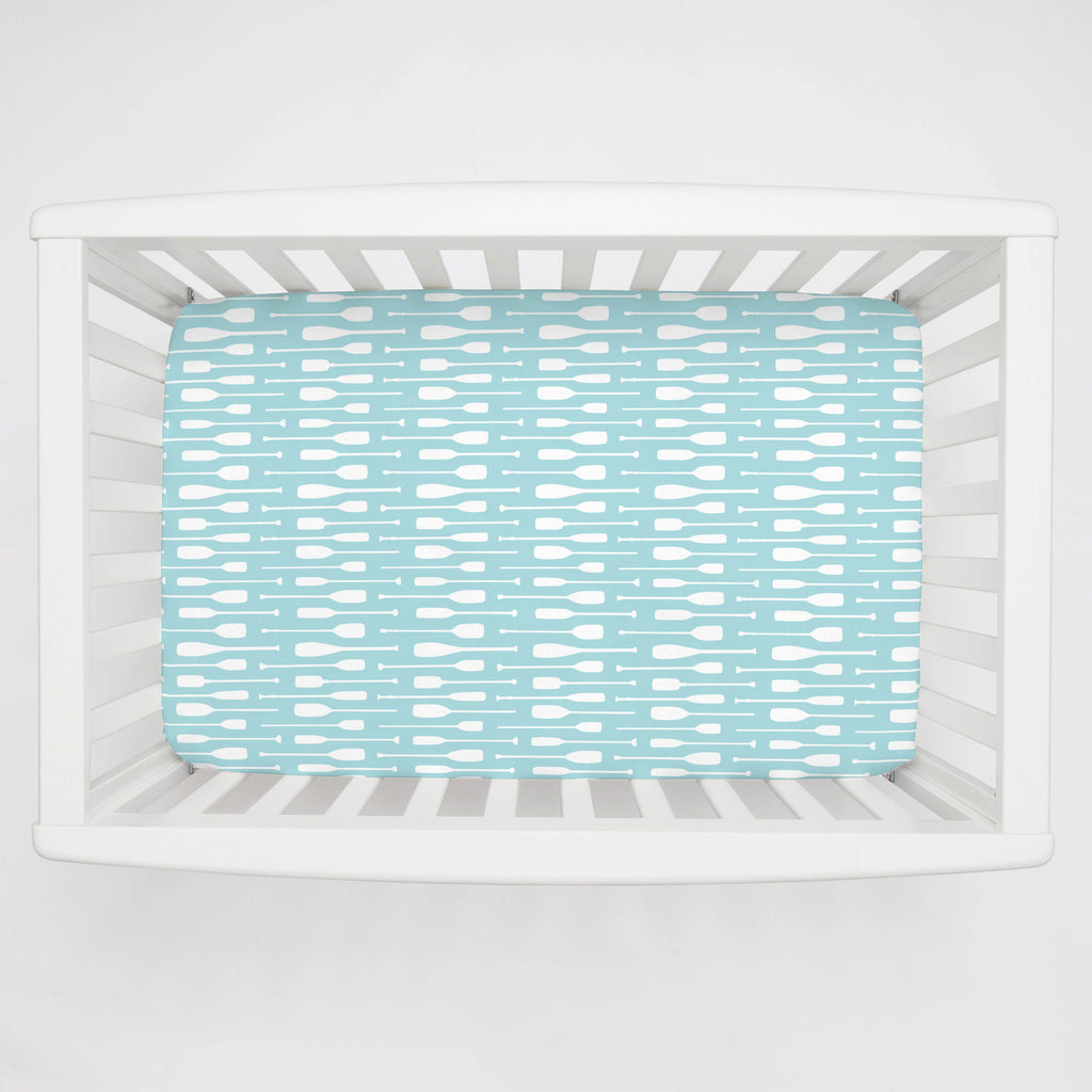 Product image for Seafoam Aqua and White Oars Mini Crib Sheet
