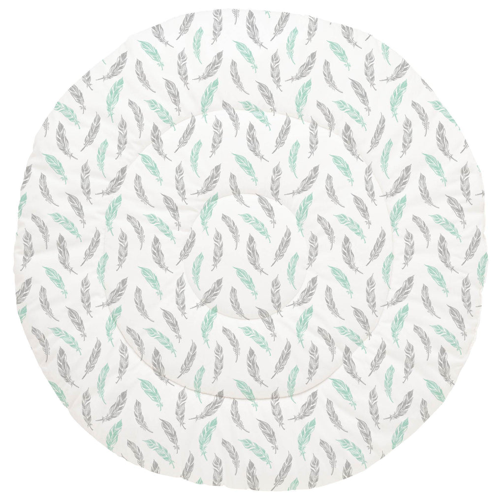 Product image for Mint and Silver Gray Hand Drawn Feathers Baby Play Mat