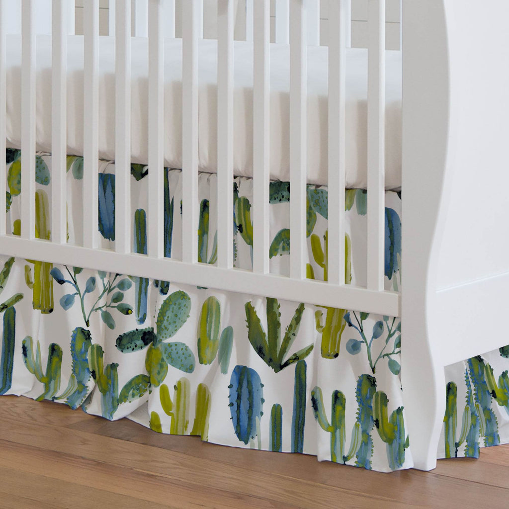 Product image for Blue Painted Cactus Crib Skirt Gathered