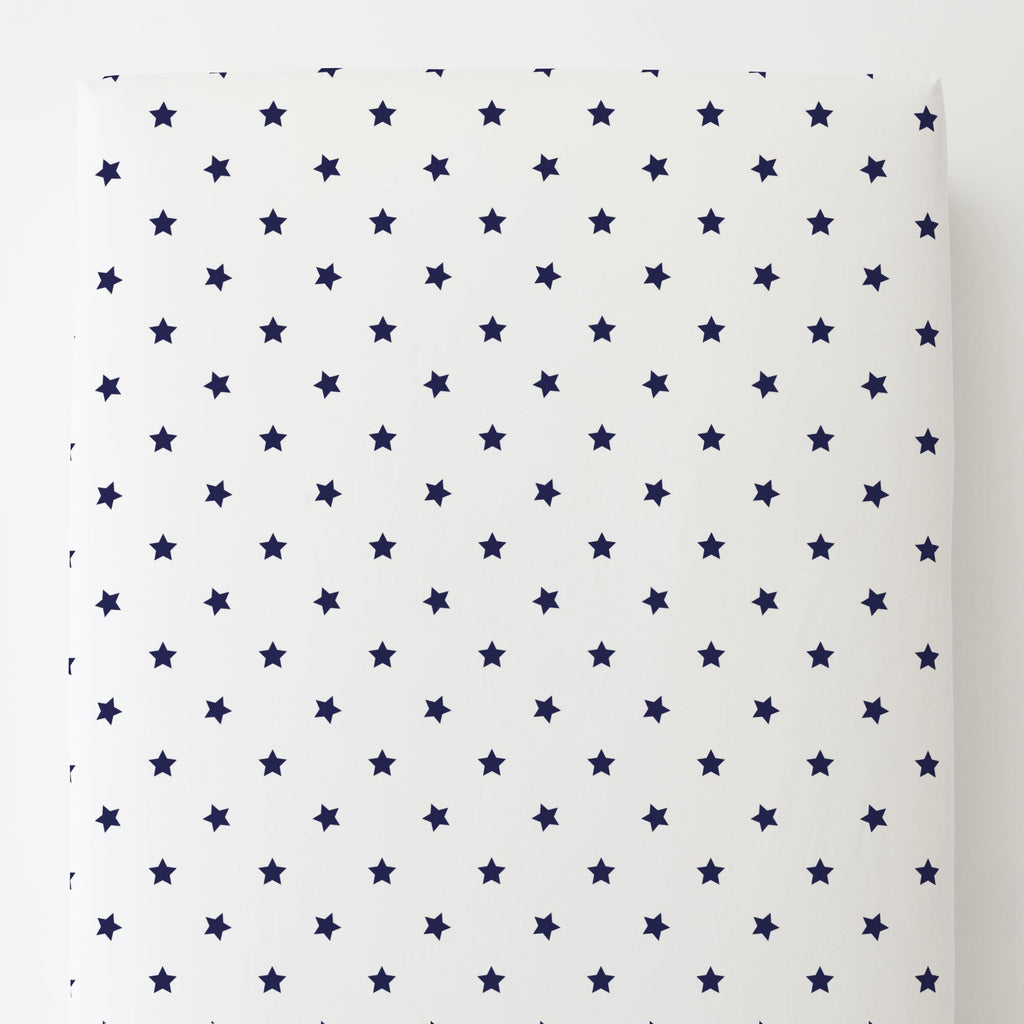 Product image for Navy Stars Toddler Sheet Bottom Fitted