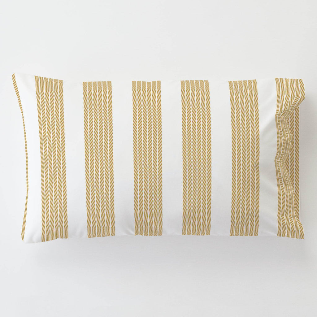 Product image for Mustard Seaside Stripe Toddler Pillow Case with Pillow Insert