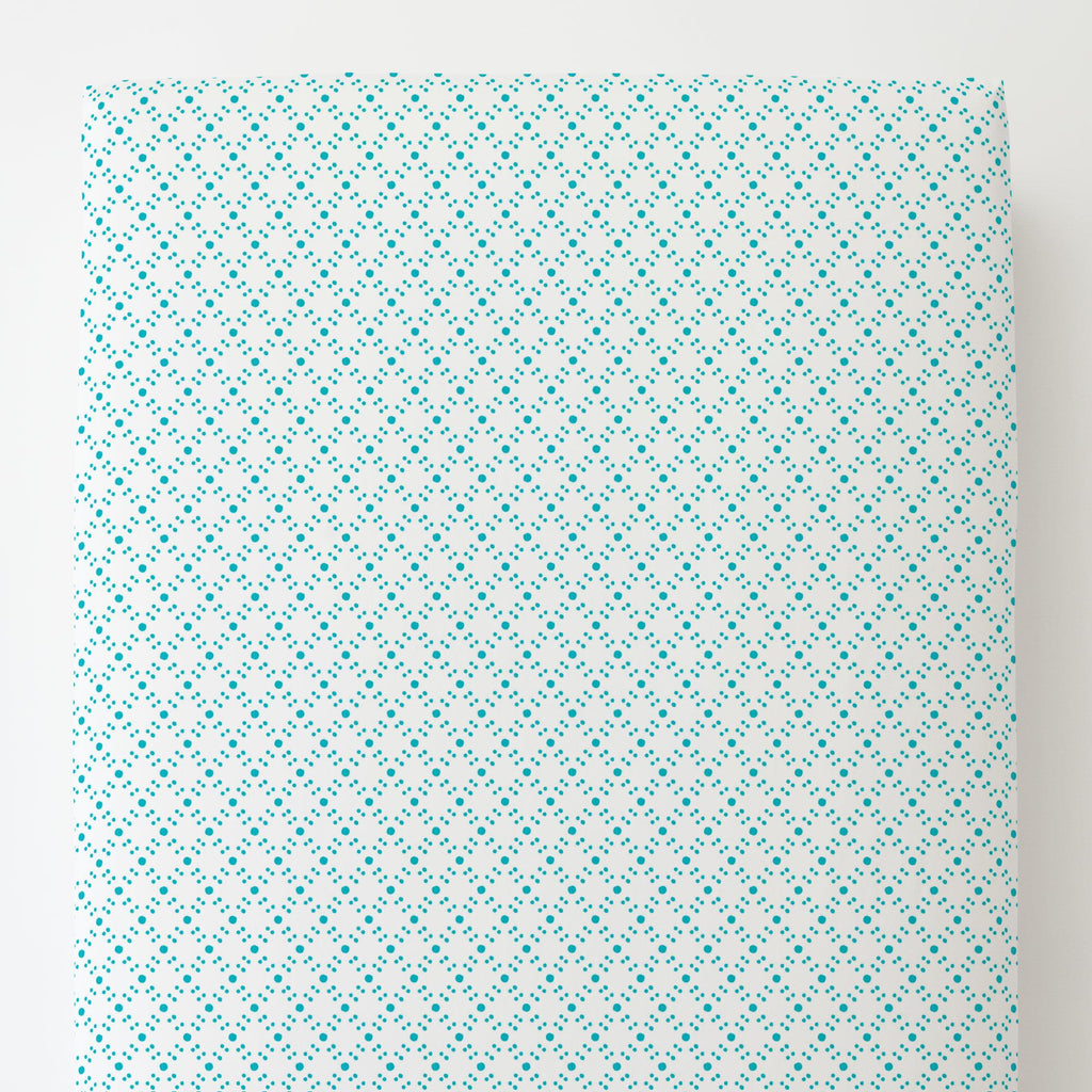 Product image for Teal Lattice Dots Toddler Sheet Bottom Fitted