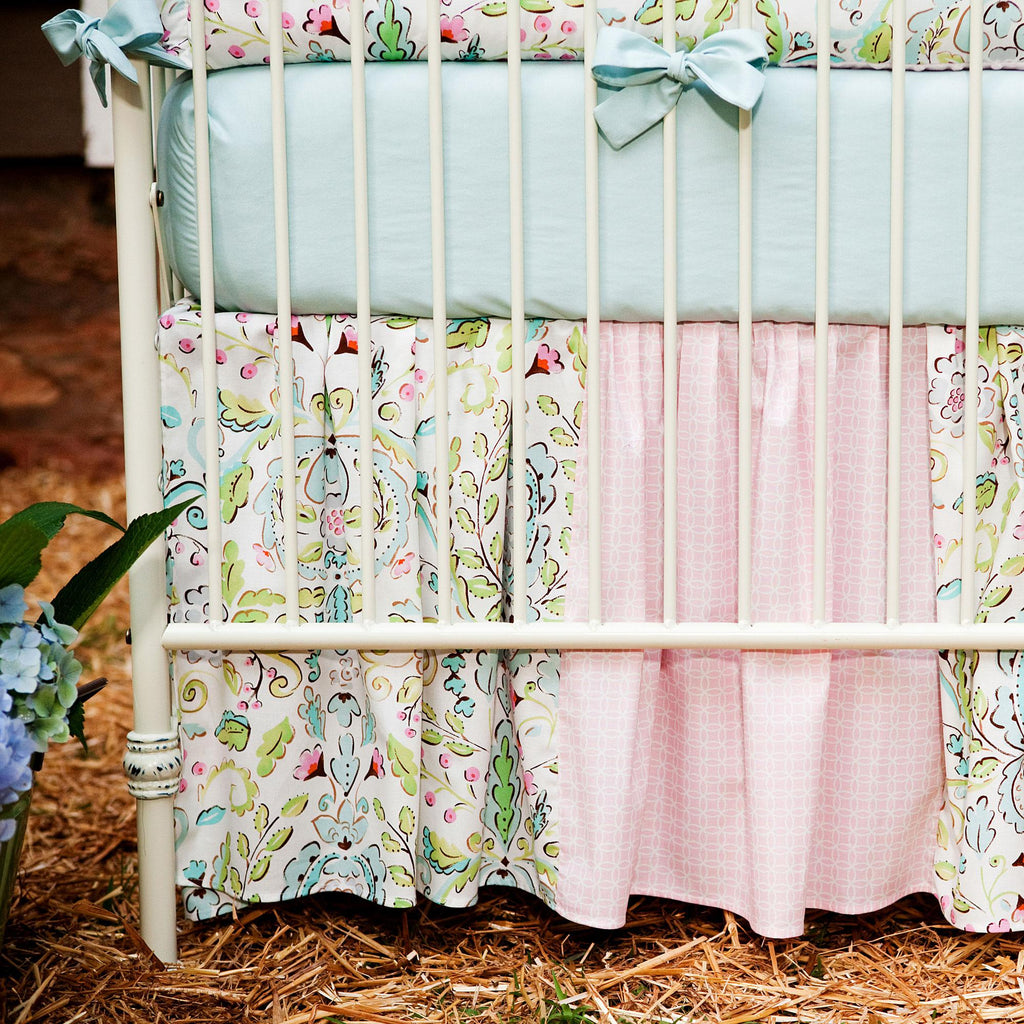 Product image for Love Bird Damask Crib Skirt