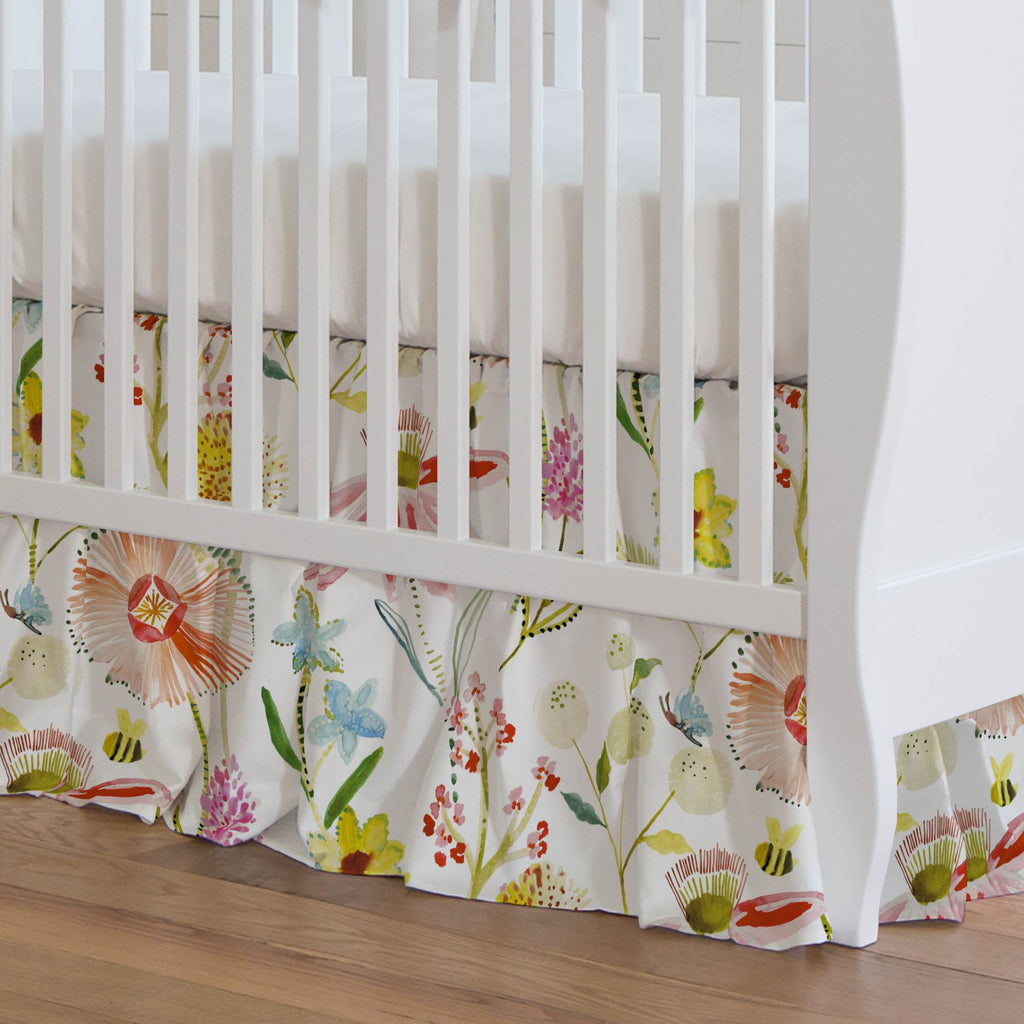 Product image for Watercolor Springtime Crib Skirt Gathered