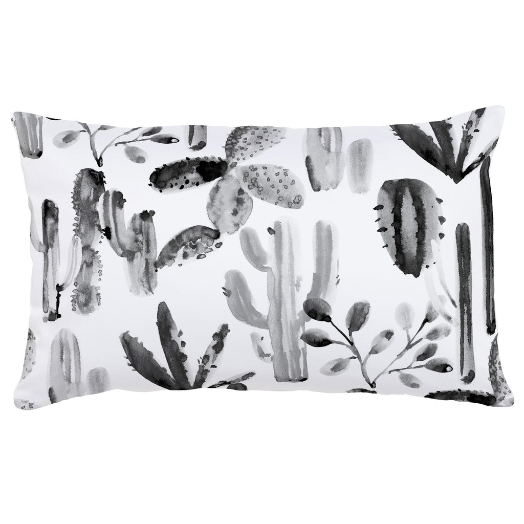 Product image for Charcoal Painted Cactus Lumbar Pillow