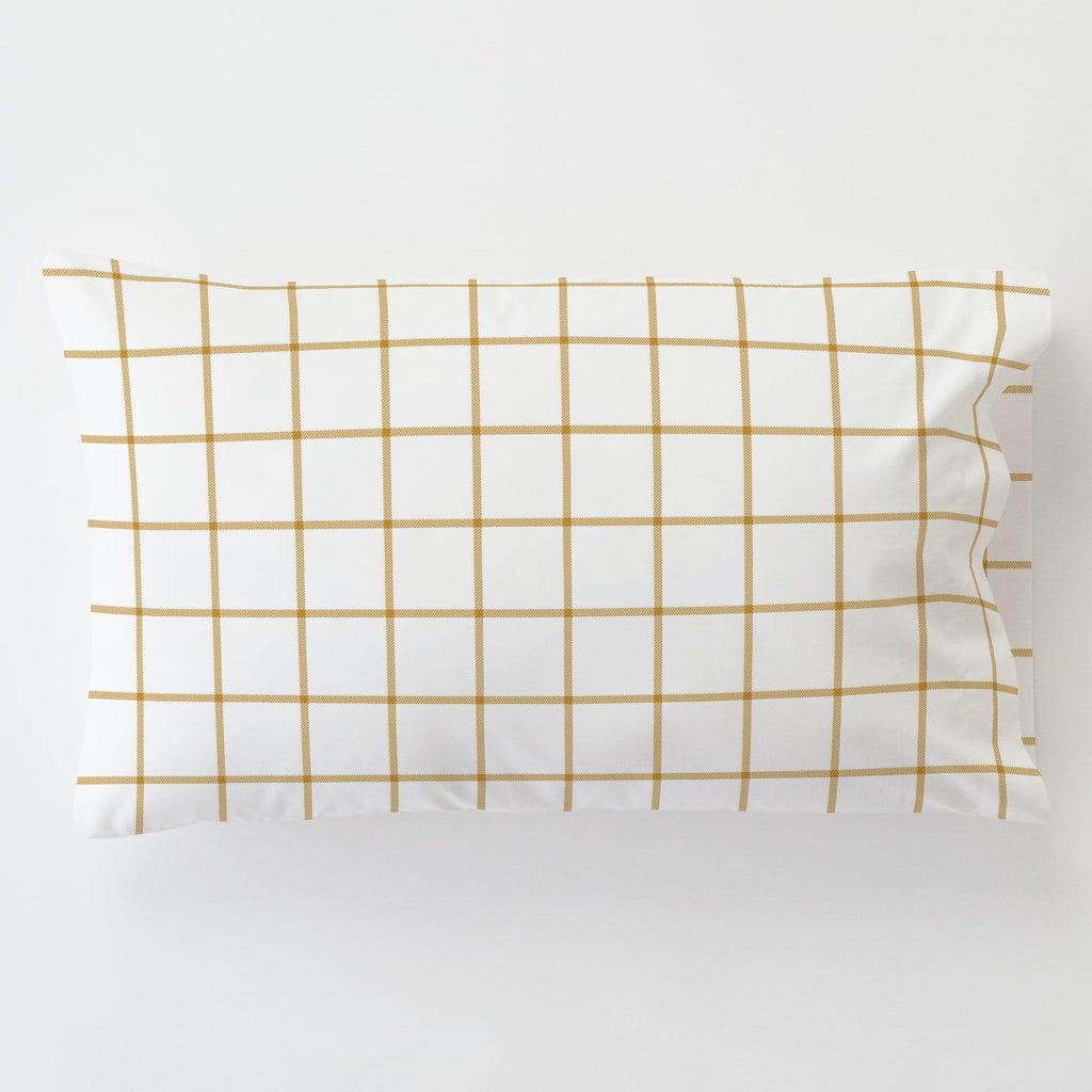 Product image for Mustard Windowpane Toddler Pillow Case