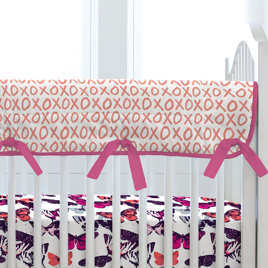 Product image for Fuchsia Modern Butterflies Crib Rail Cover