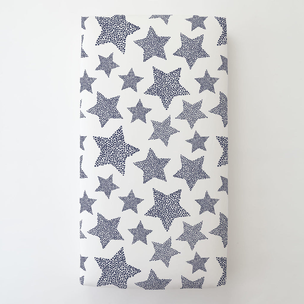 Product image for Navy Galaxy Stars Toddler Sheet Bottom Fitted
