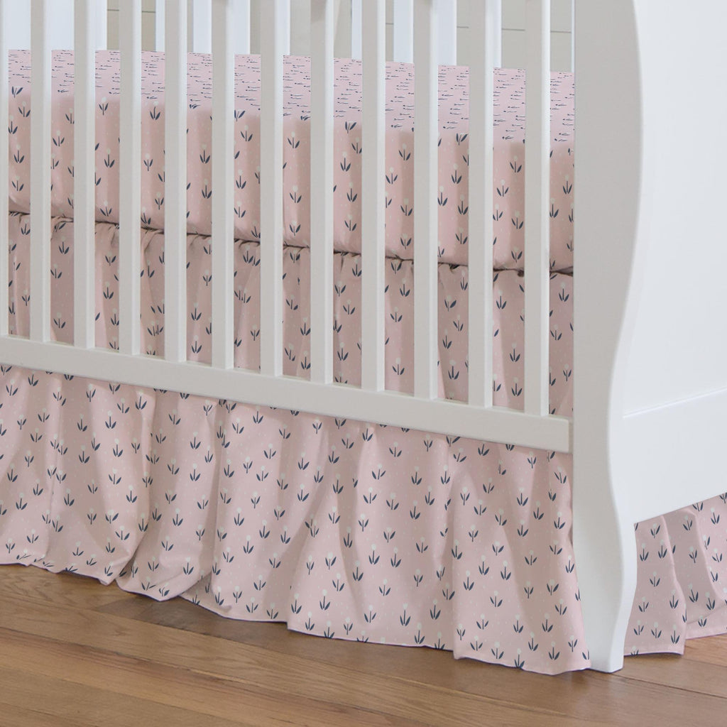 Product image for Pink Baby Woodland Flowers Crib Skirt Gathered