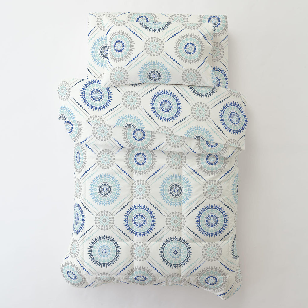 Product image for Denim and Silver Gray Modern Medallion Toddler Comforter