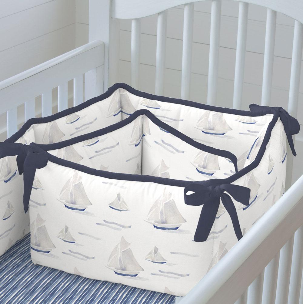 Product image for Watercolor Sailboats Crib Bumper
