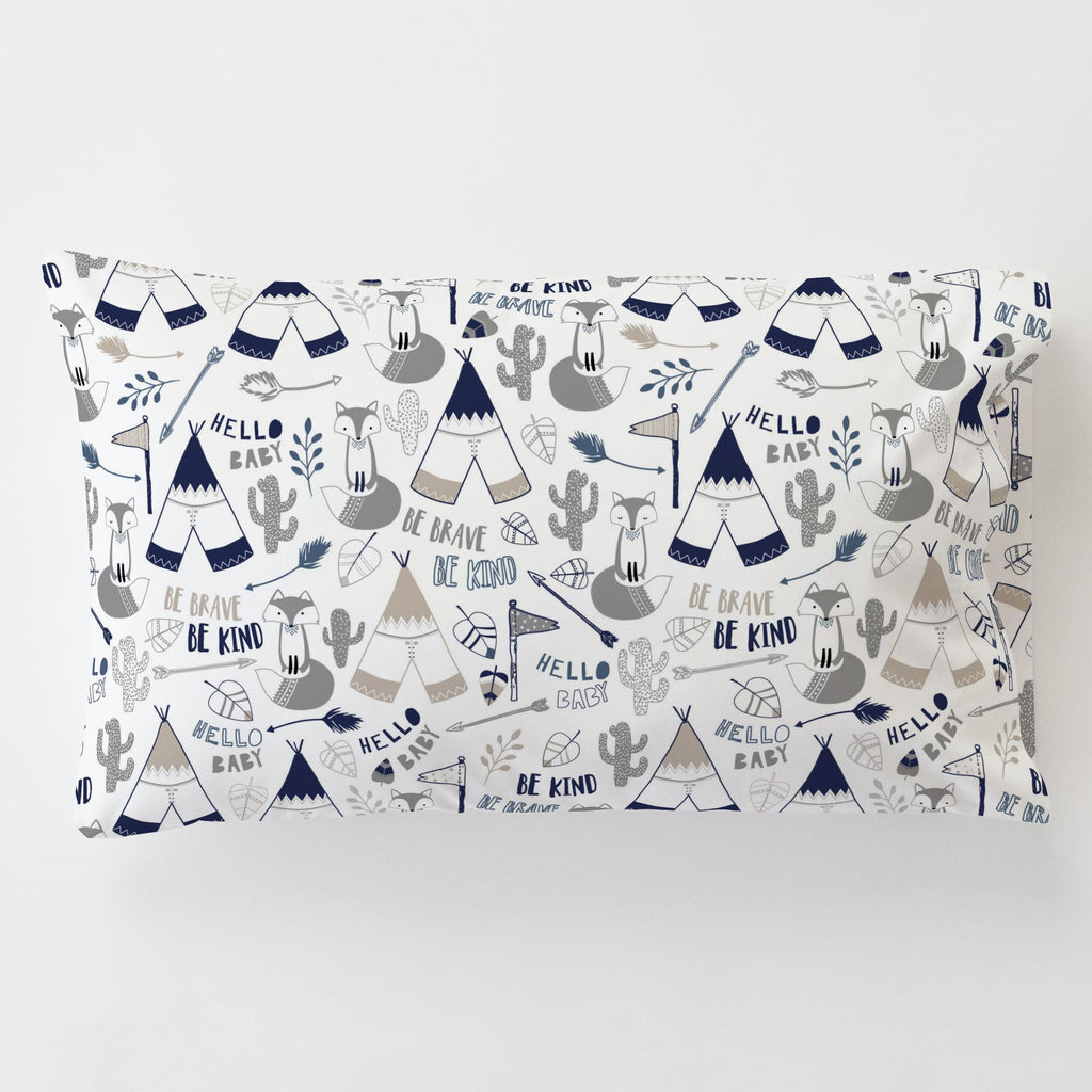 Product image for Navy Brave Fox Toddler Pillow Case