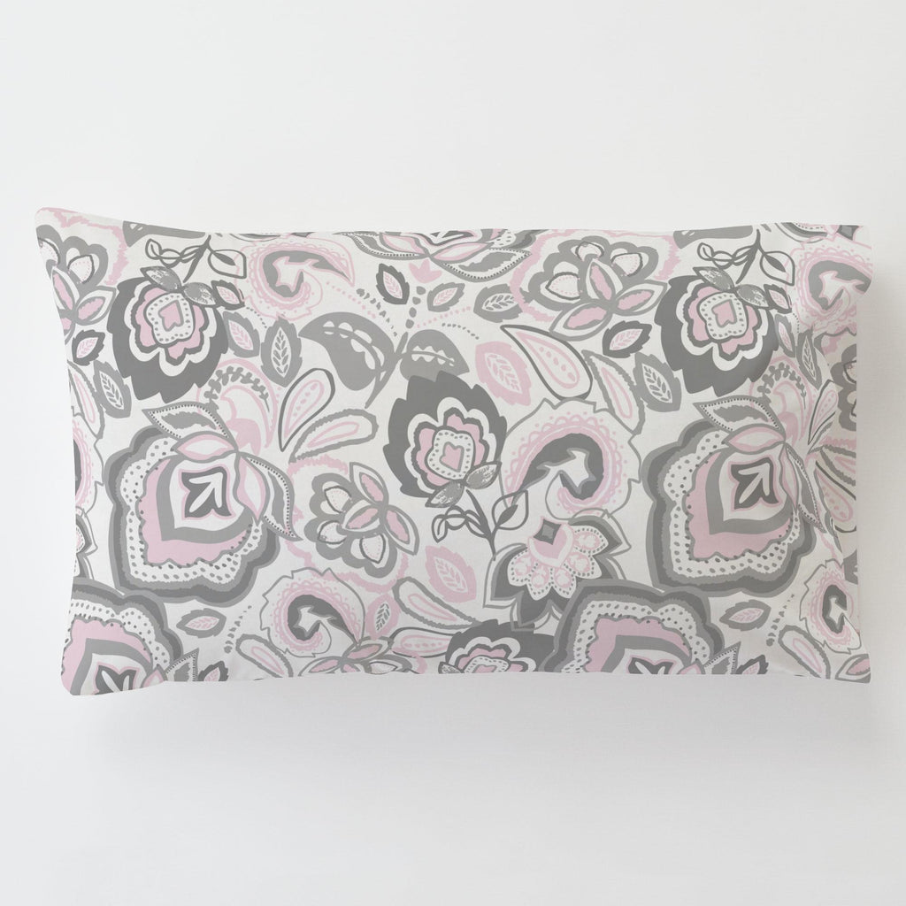 Product image for Pink and Gray Jacobean Toddler Pillow Case