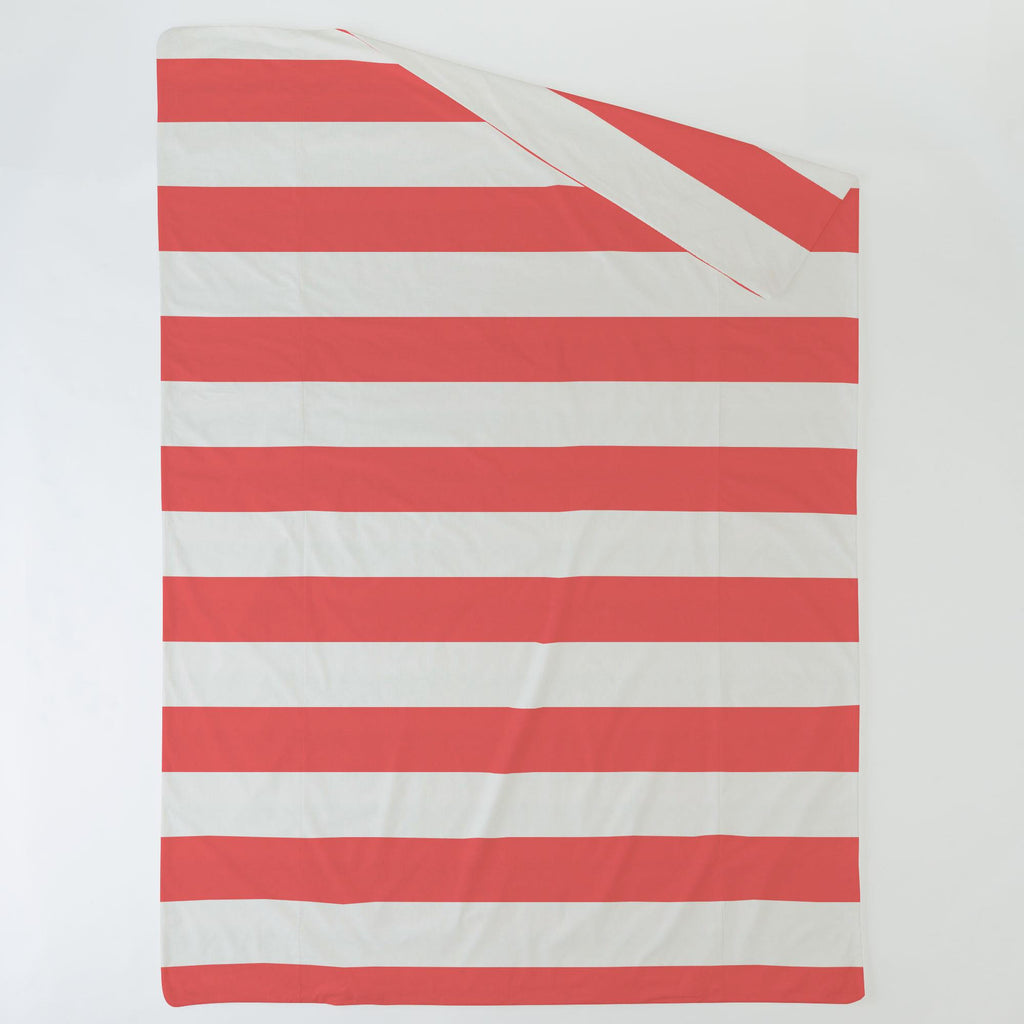 Product image for Coral Horizontal Stripe Duvet Cover