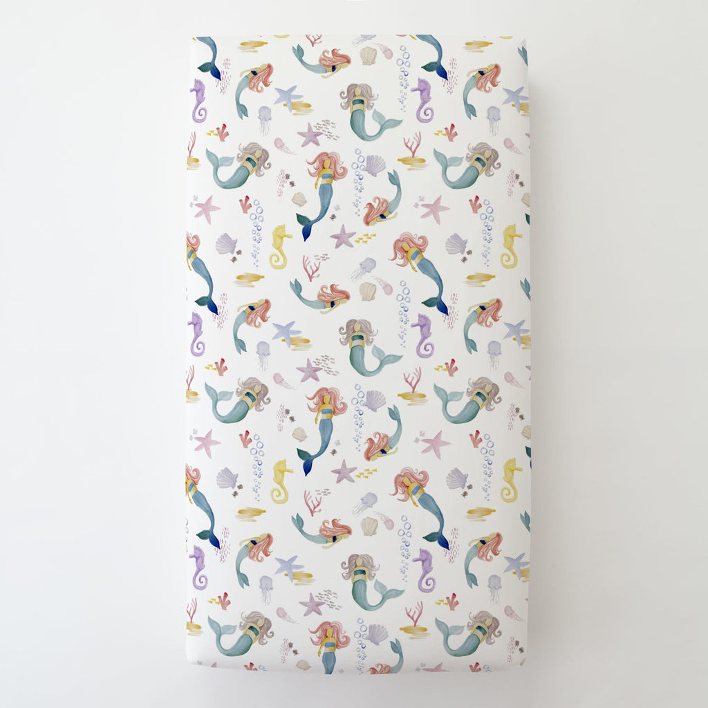 Product image for Watercolor Mermaids Toddler Sheet Bottom Fitted