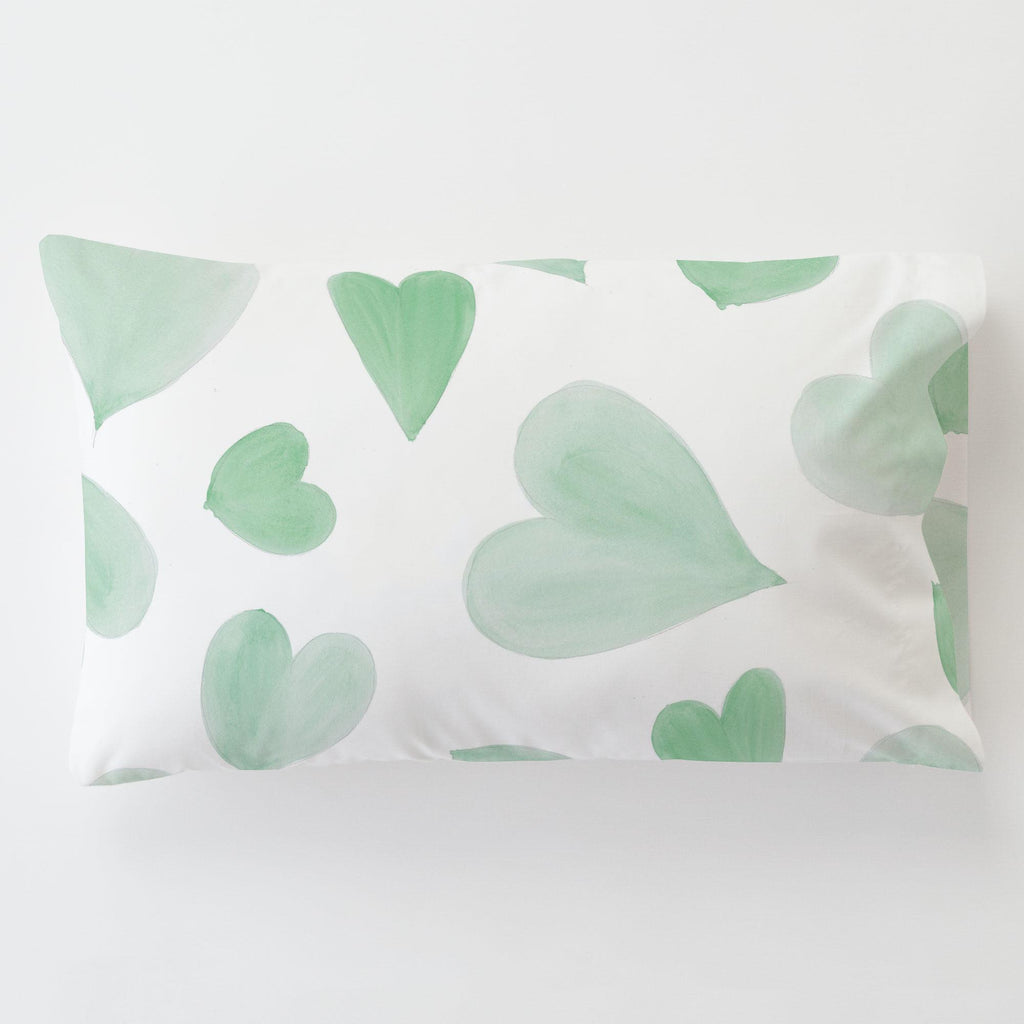 Product image for Mint Watercolor Hearts Toddler Pillow Case