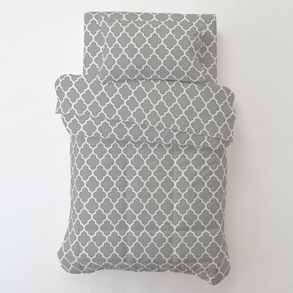 Product image for Silver Gray and Navy Hand Drawn Quatrefoil Toddler Pillow Case with Pillow Insert