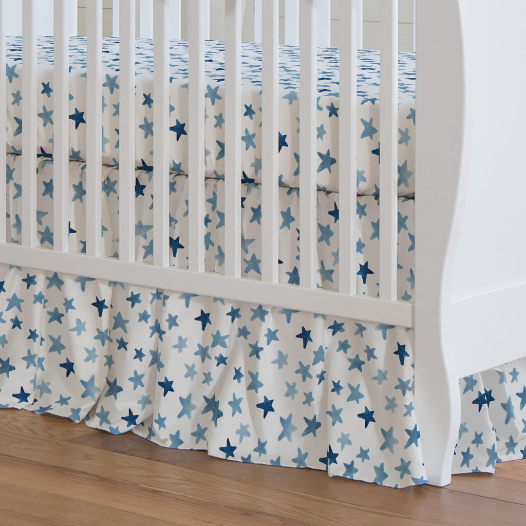 Product image for Blue Watercolor Stars Crib Skirt Gathered