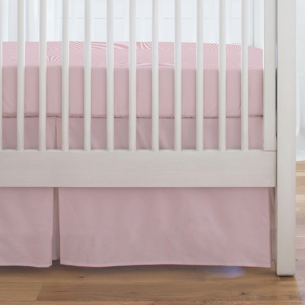 Product image for Pink Mini-Stripe Crib Skirt Single-Pleat