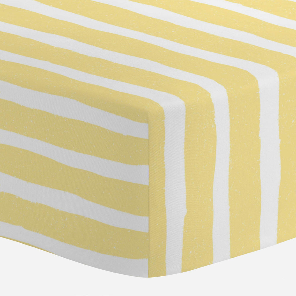 Product image for Banana Yellow Weathered Stripe Mini Crib Sheet