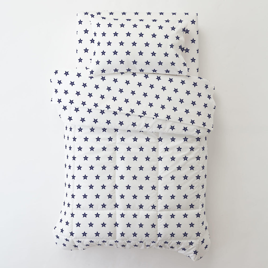 Product image for Navy Mosaic Stars Toddler Pillow Case with Pillow Insert