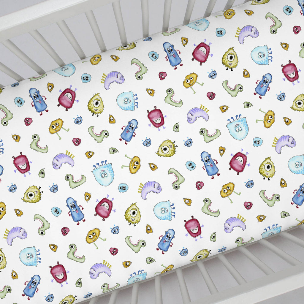 Product image for Watercolor Monsters Crib Sheet
