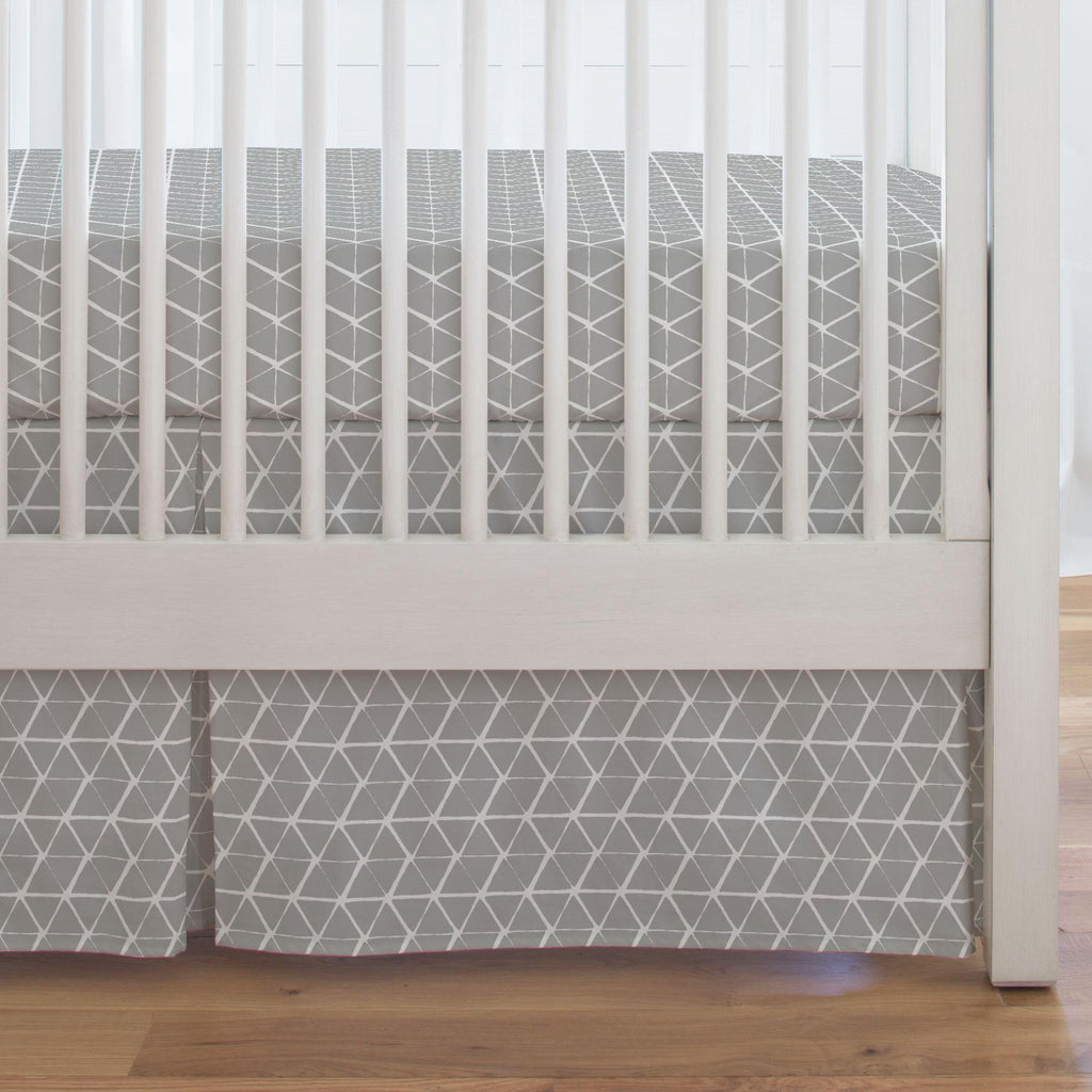 Product image for Gray Aztec Triangles Crib Skirt Single-Pleat