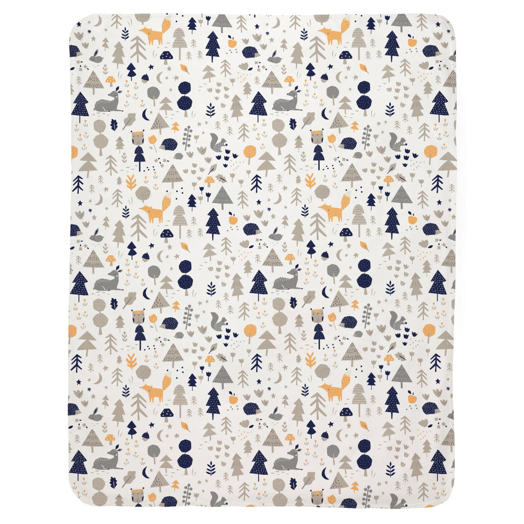 Product image for Taupe and Windsor Navy Baby Woodland Baby Blanket