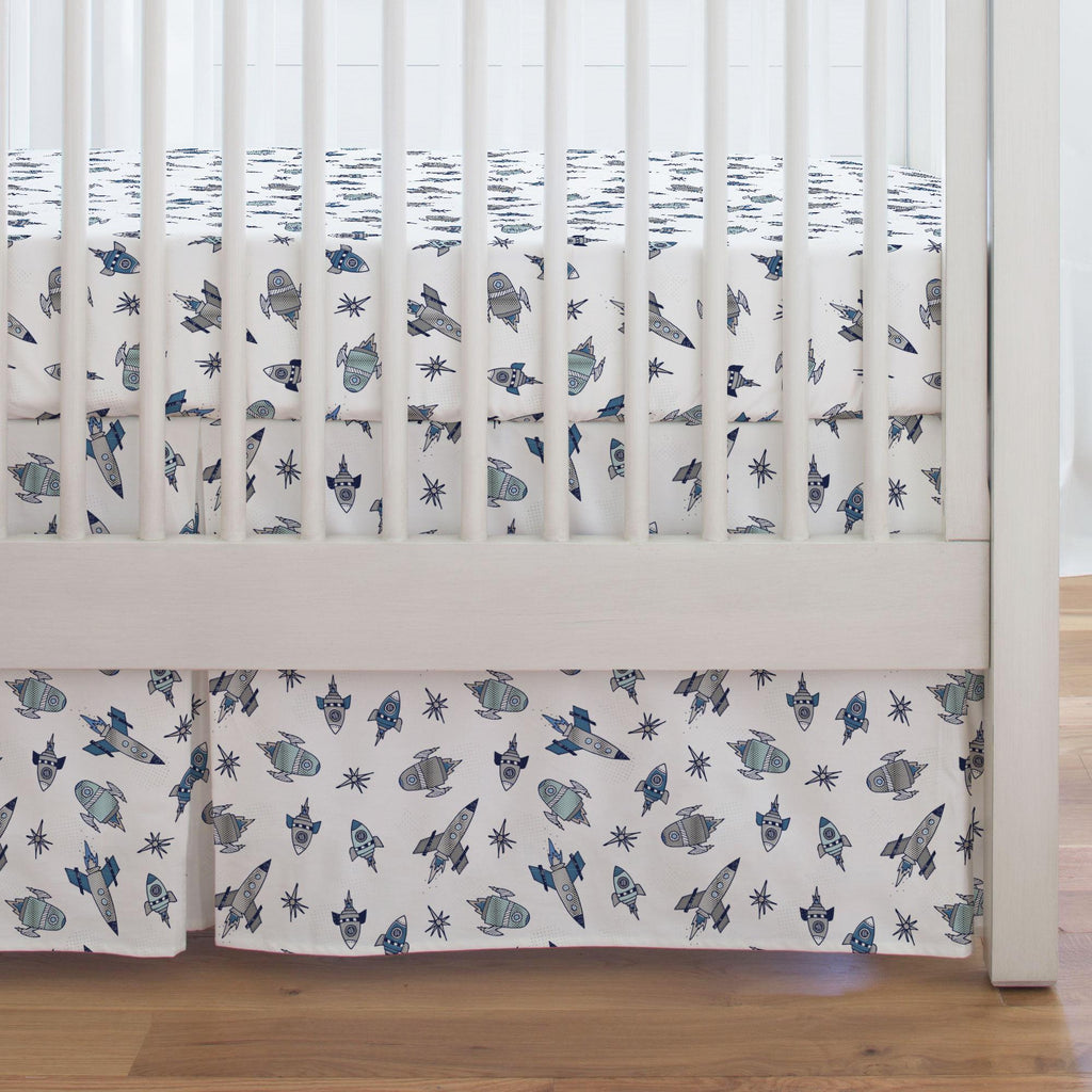 Product image for Navy Retro Rockets Crib Skirt Single-Pleat