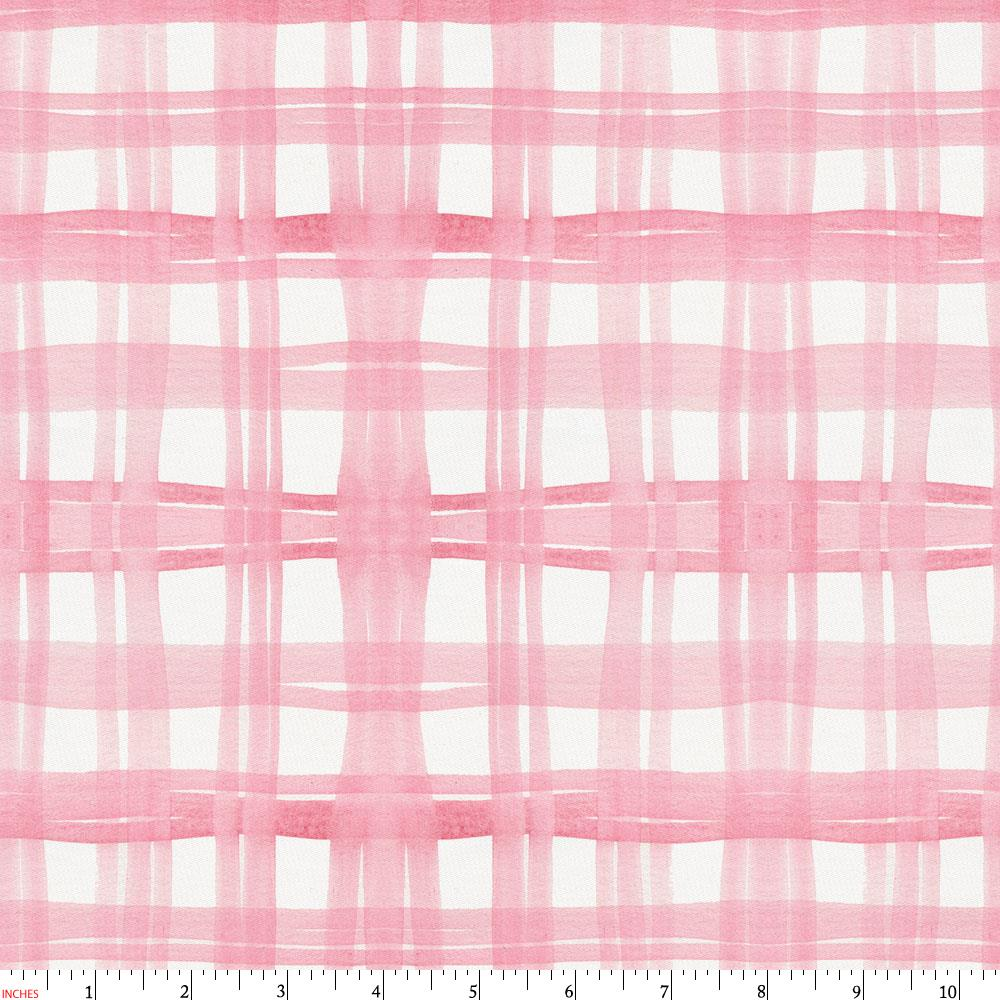 Product image for Pink Watercolor Plaid Fabric