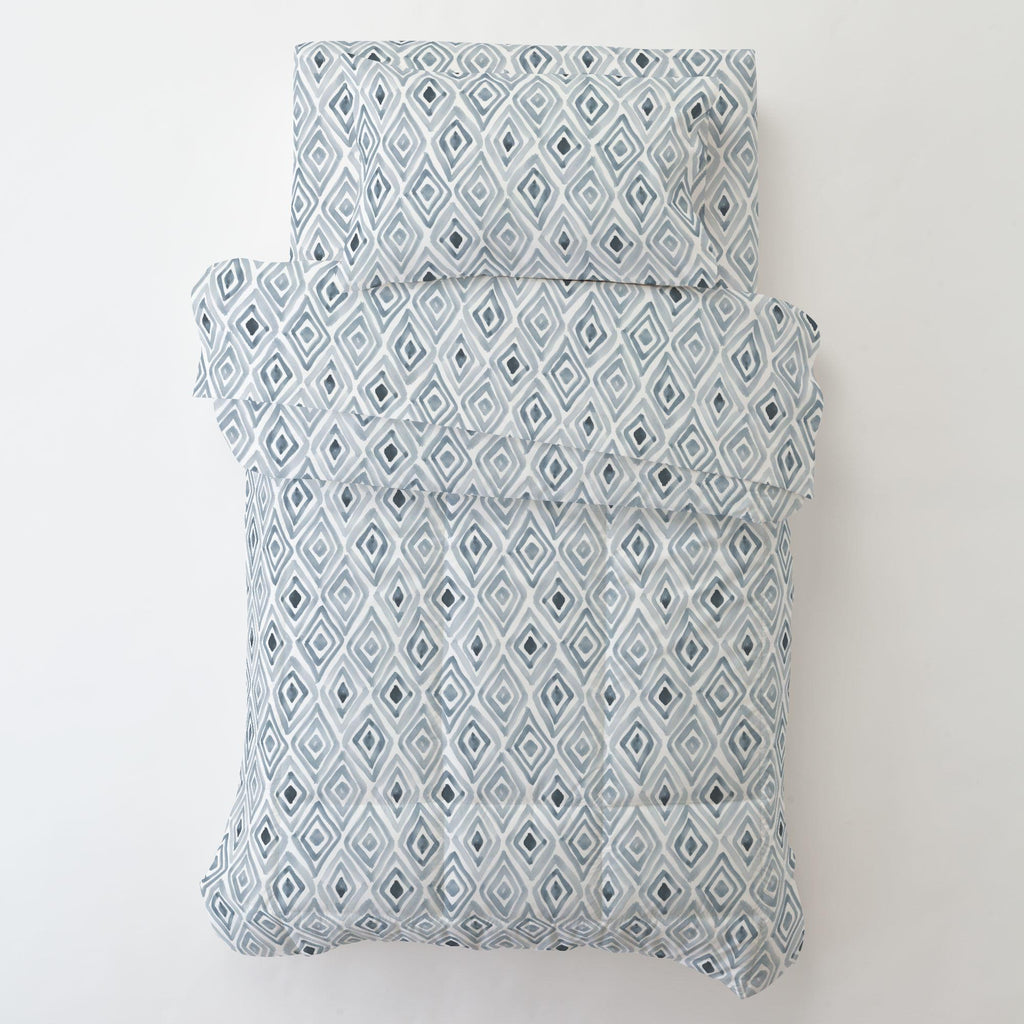 Product image for Steel Blue Painted Diamond Toddler Pillow Case with Pillow Insert