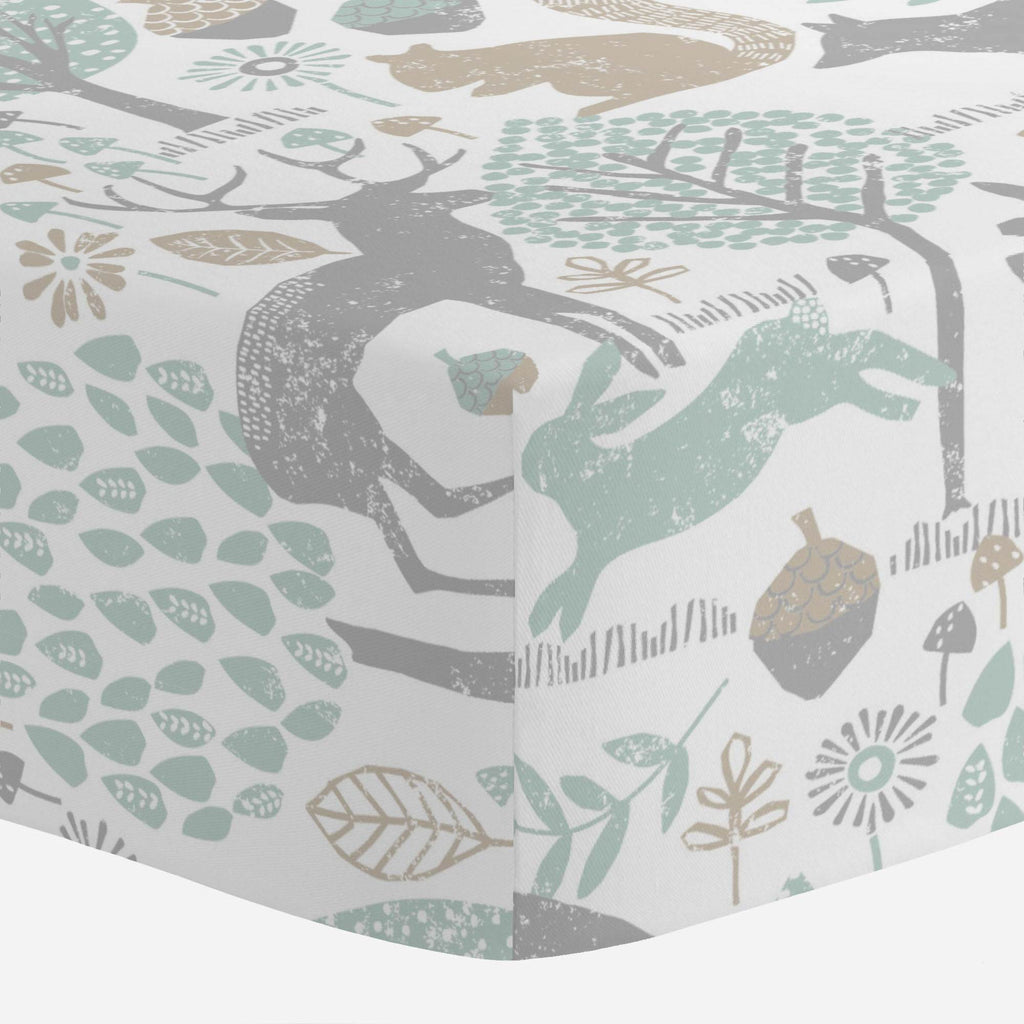 Product image for Gray and Taupe Woodland Animals Mini Crib Sheet