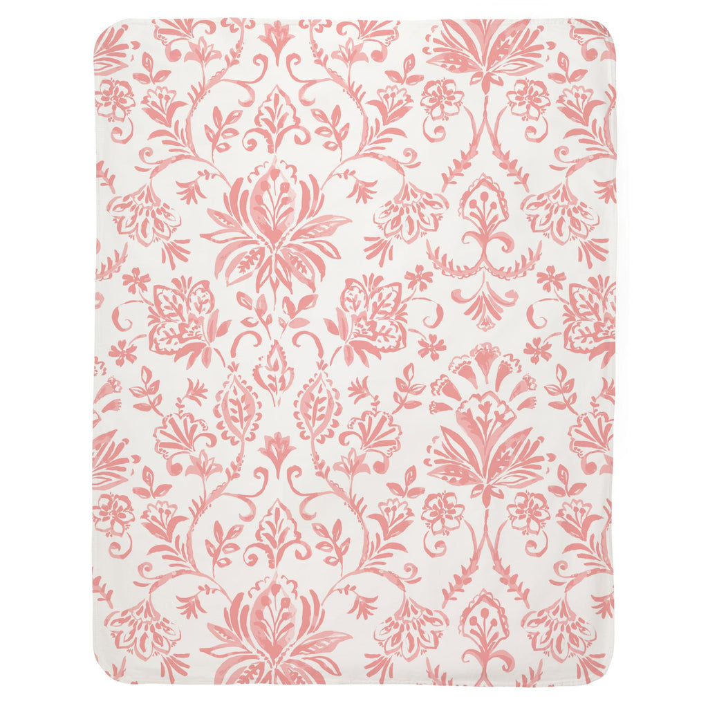Product image for Coral Pink Coastal Damask Baby Blanket