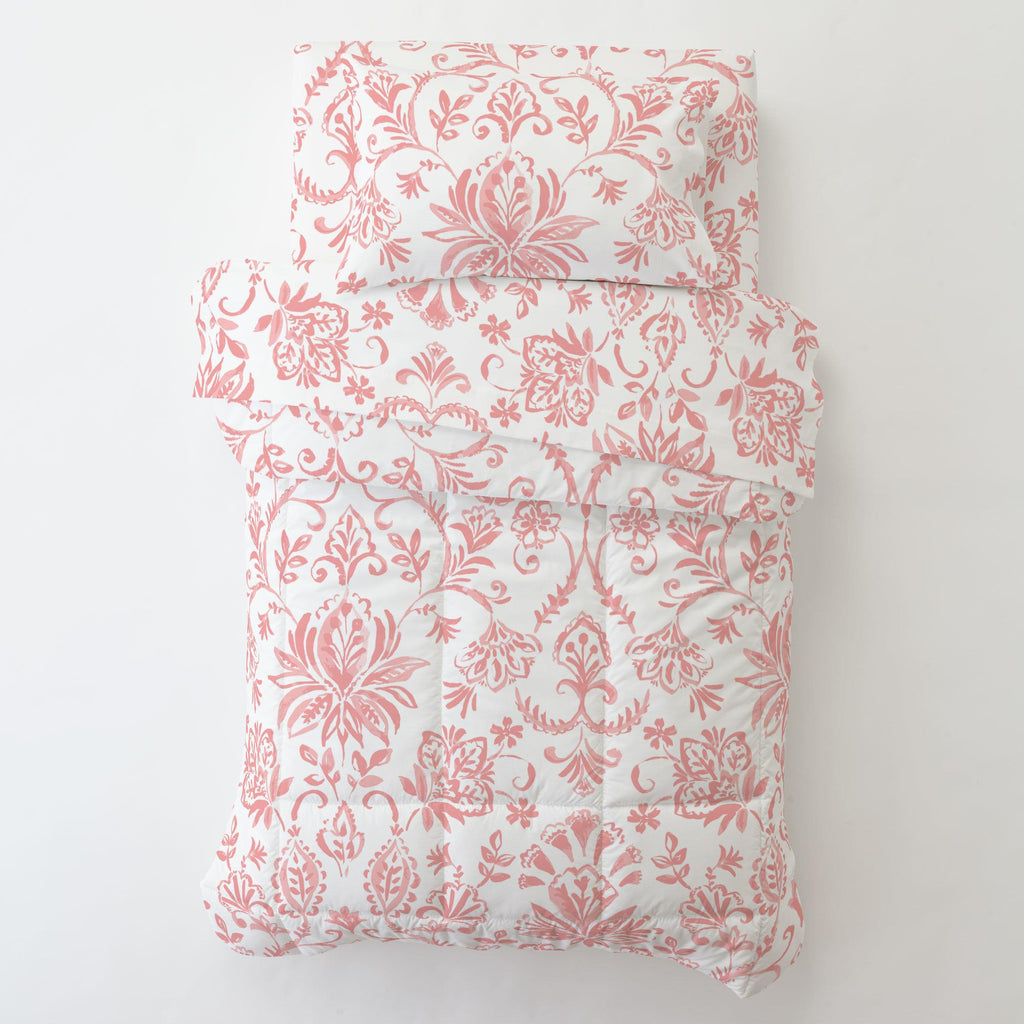 Product image for Coral Pink Coastal Damask Toddler Pillow Case with Pillow Insert