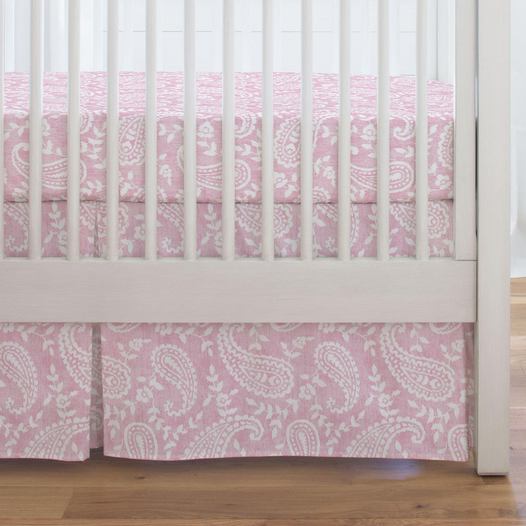 Product image for Pink Paisley Crib Skirt Single-Pleat