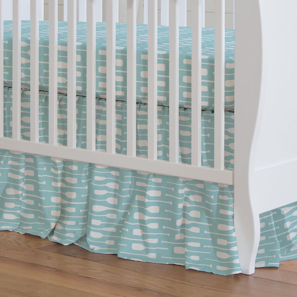 Product image for Seafoam Aqua and White Oars Crib Skirt Gathered