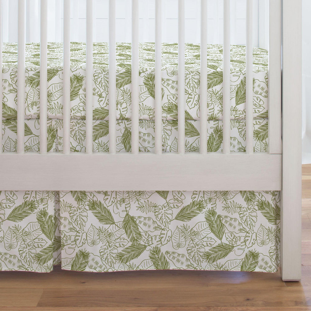 Product image for Sage Palm Leaves Crib Skirt Single-Pleat