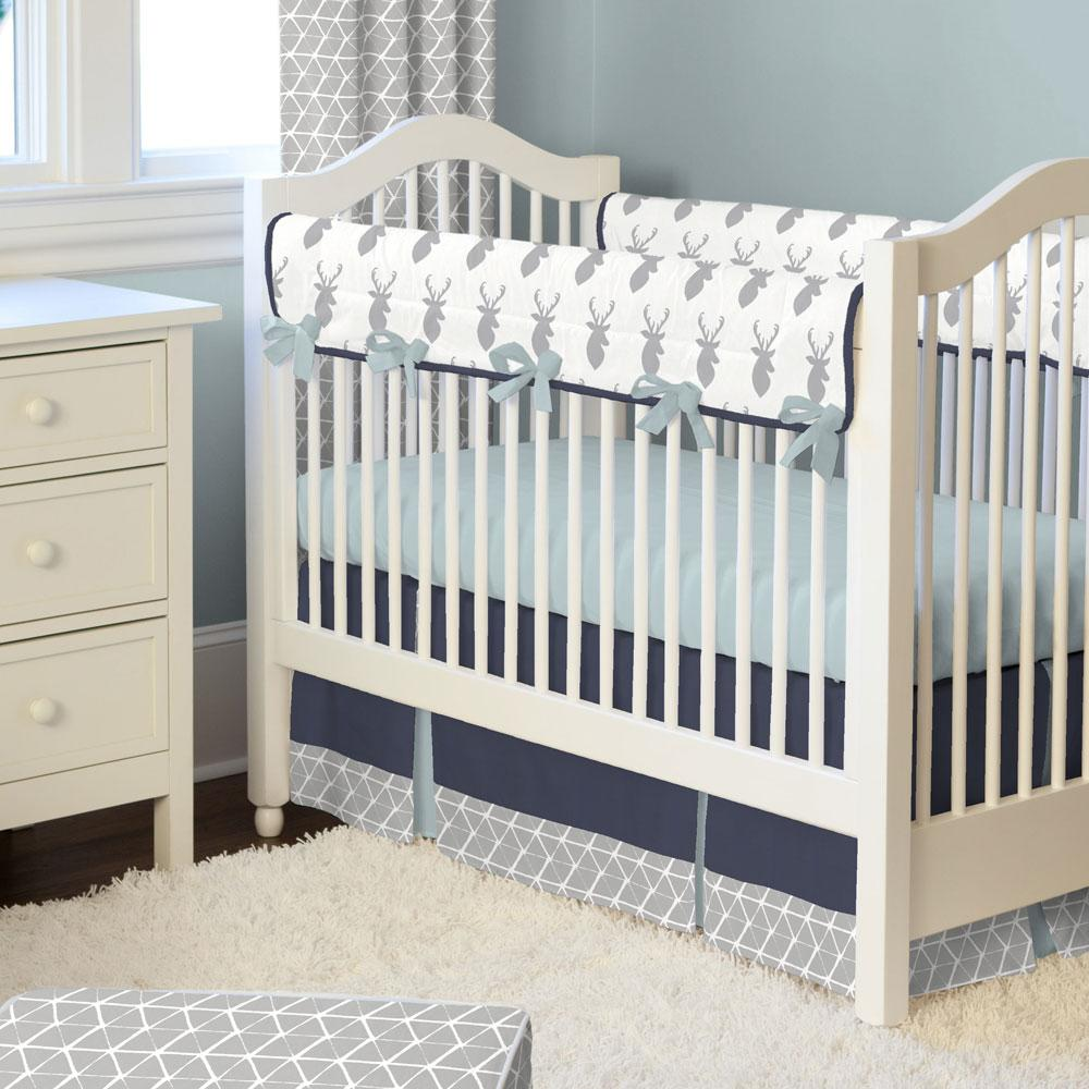 Product image for Solid Navy Crib Skirt Two-Pleat with Trim