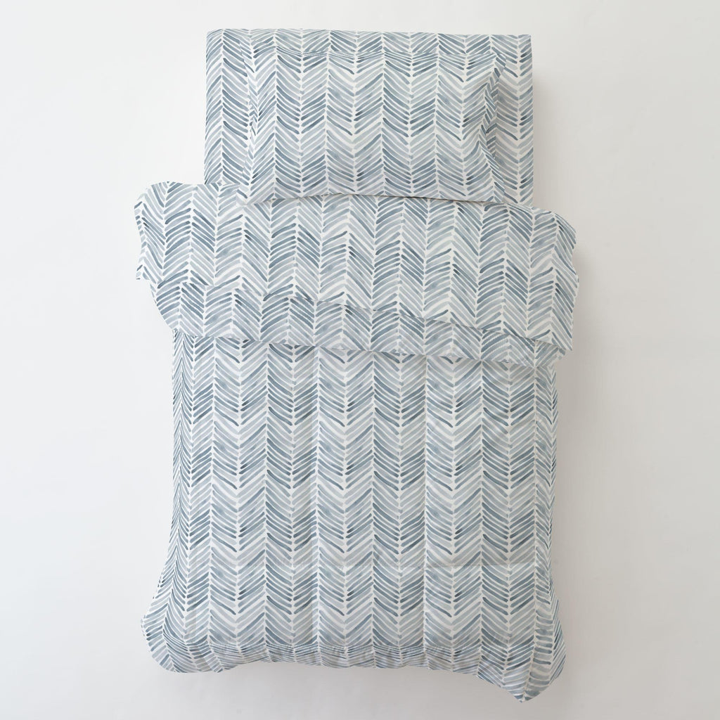 Product image for Steel Blue Painted Chevron Toddler Pillow Case with Pillow Insert