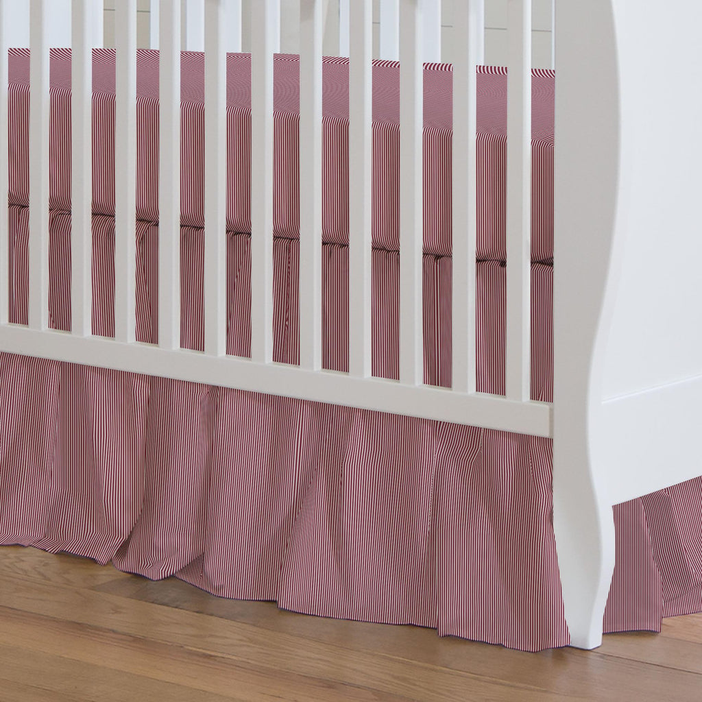 Product image for Crimson Mini Stripe Crib Skirt Gathered