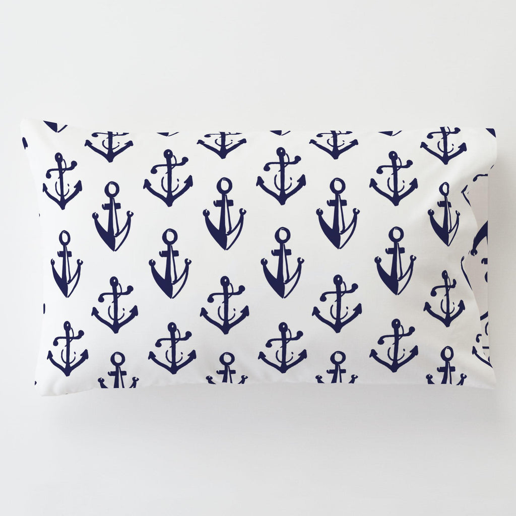 Product image for Windsor Navy Anchors Toddler Pillow Case